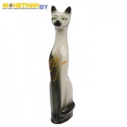 Копилка «Кот» белый с черным узор золото