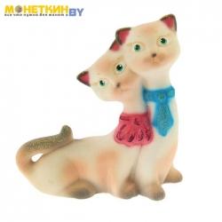 Копилка «Кошки Близнецы» белые с розовым галстук