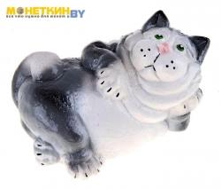 Копилка «Кот лежа» серый