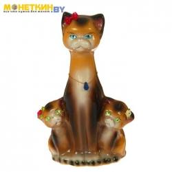 Копилка «Кошка с котятами» глянец бежево – шоколадный