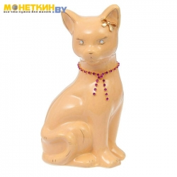 Копилка «Кошка Лиза» глазурь кремовая цепочка