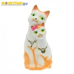 Копилка «Коты» ключик, замочек, белая