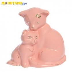 Копилка «Кошка с котенком» глазурь розовая