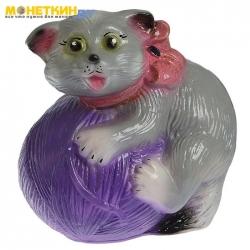 Копилка «Кот с клубком» глянец серый