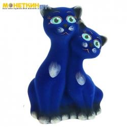Копилка «Коты вместе» васильковый