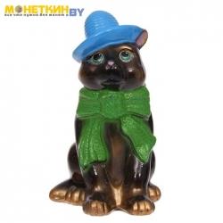 Копилка «Кот в шарфе» глянец черный
