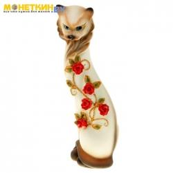 Копилка «Кошка Маркиза» средняя с китайскими розочками бел