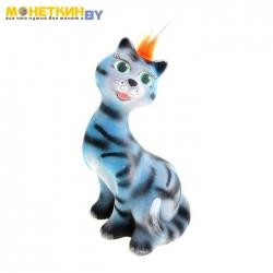 Копилка «Кошка молодая» голубой – полосатый