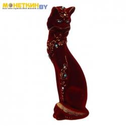 Копилка «Кошка ожерелье» бордо