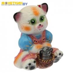 Копилка «Кошка с мышкой» глянец белый