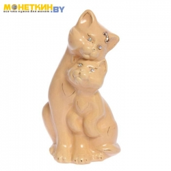 Копилка «Коты пара средняя» глазурь кремовая