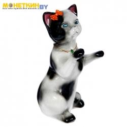 Копилка «Кот попрошайка» глянец бело – черный