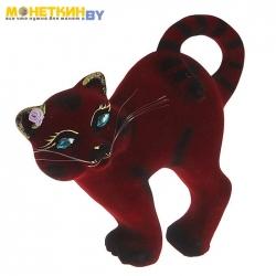 Копилка «Кот бублик» бордовый