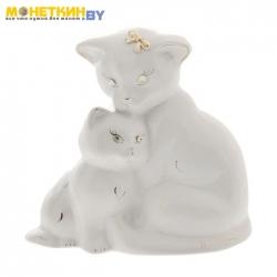 Копилка «Кошка с котенком» белая