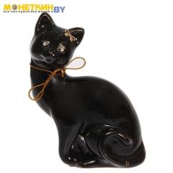 Копилка Кошка «Шарлота» глазурь черная веревка