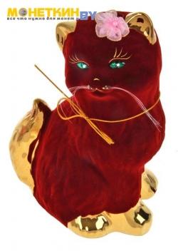 Копилка «Кошка Сима» булат бордовый