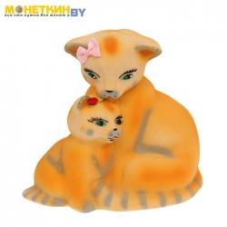 Копилка «Кошка с котенком» желтый