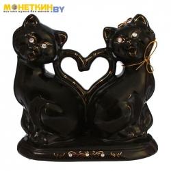 Копилка «Коты сердце новые» глазурь черная