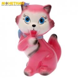 Копилка «Кошка с бантом» акрил розовый