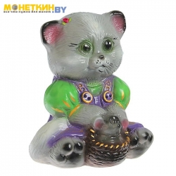 Копилка «Кошка с мышкой» глянец серый