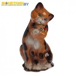 Копилка «Коты пара» средняя глянец бежево – леопардовый