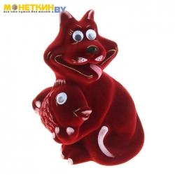 Копилка «Кот с рыбой» бордовый