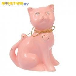 Копилка «Кошка Василиса» малая глазурь розовая веревка