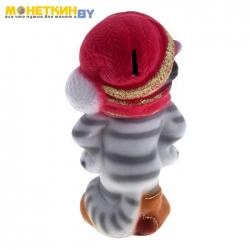 Копилка «Полосатый кот», серая, бордовая шапка