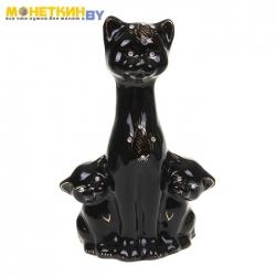 Копилка «Кошка с котятами» черный