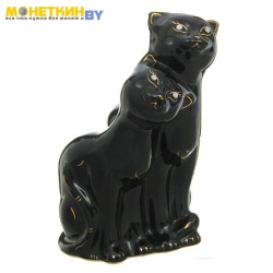 Копилка «Коты Пара» глазурь черная