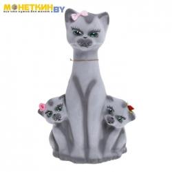 Копилка «Кошка с котятами» серые
