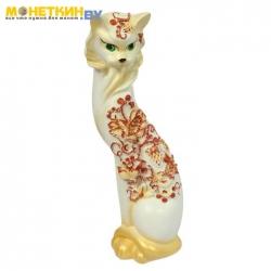 Копилка «Кошка Маркиза» средняя клубника бело – золото