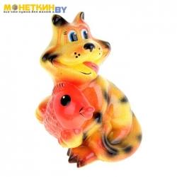 Копилка «Кот с рыбой» глянец рыже – полосатый