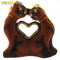 Копилка «Коты сердце мини» коричневый
