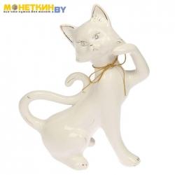 Копилка «Кошка Милена» глазурь белая веревка