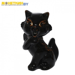 Копилка «Кошка с бантом» глянец черная