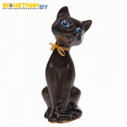 Копилка «Котенок с бантиком» глянец черный