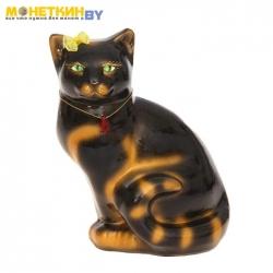 Копилка «Кошка Мурка» сидячая глянец черная