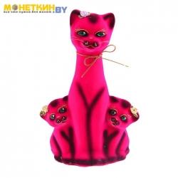 Копилка «Кошка с котятами» малиновые