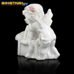 Копилка «Ангелочки в розовых веночках в креслице»