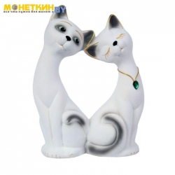 Копилка «Влюбленная пара» большая белая