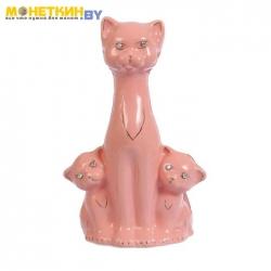 Копилка «Кошка с котятами» глазурь розовая