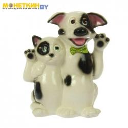 Копилка «Кот и Пес Друзья» глянец белый