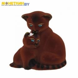 Копилка «Кошка с котенком» коричневый