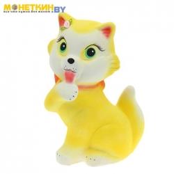 Копилка «Кошка с бантом» акрил желтый