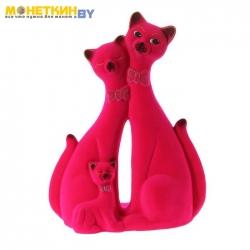 Копилка «Кот Семья Идилия» розовый