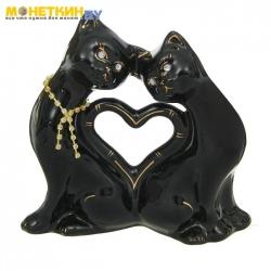 Копилка «Кошки Сердце» глазурь черная