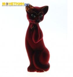 Копилка «Кошка Алиса» средняя бордовая