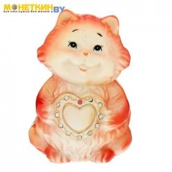 Копилка «Котишка с сердцем» стразы