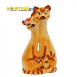 Копилка «Коты семья» рыжая
